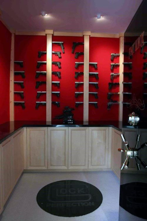 Walk in gun room safe with red walls glock themed for Walk in gun vault room
