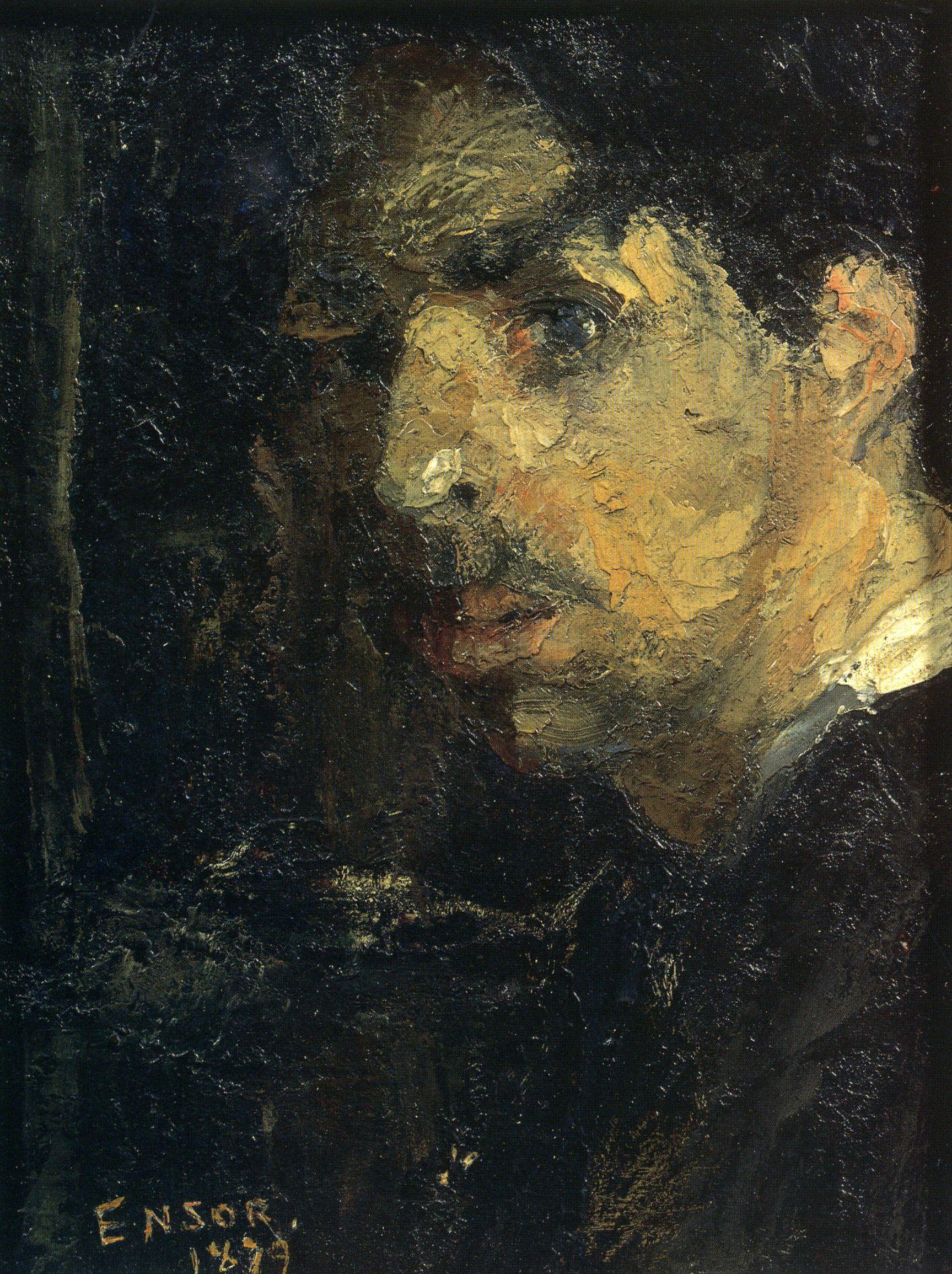 1879 James Ensor Portrait De L Artiste Dit Grosse Tête Portrait Of The Artist Says Large Head