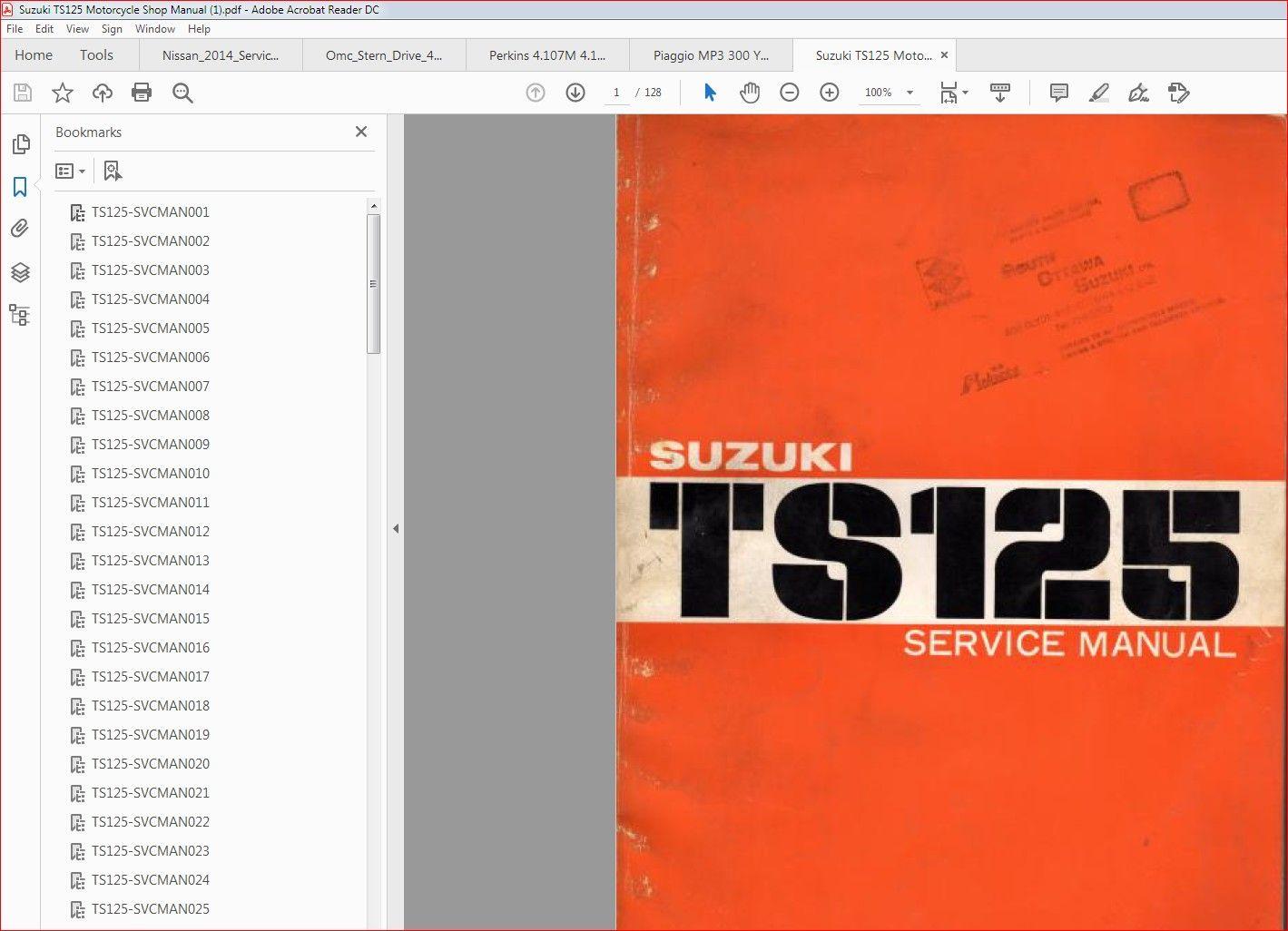 Suzuki Ts125 Motorcycle Shop Manual Suzuki Ts125 Motorcycle Shop Suzuki