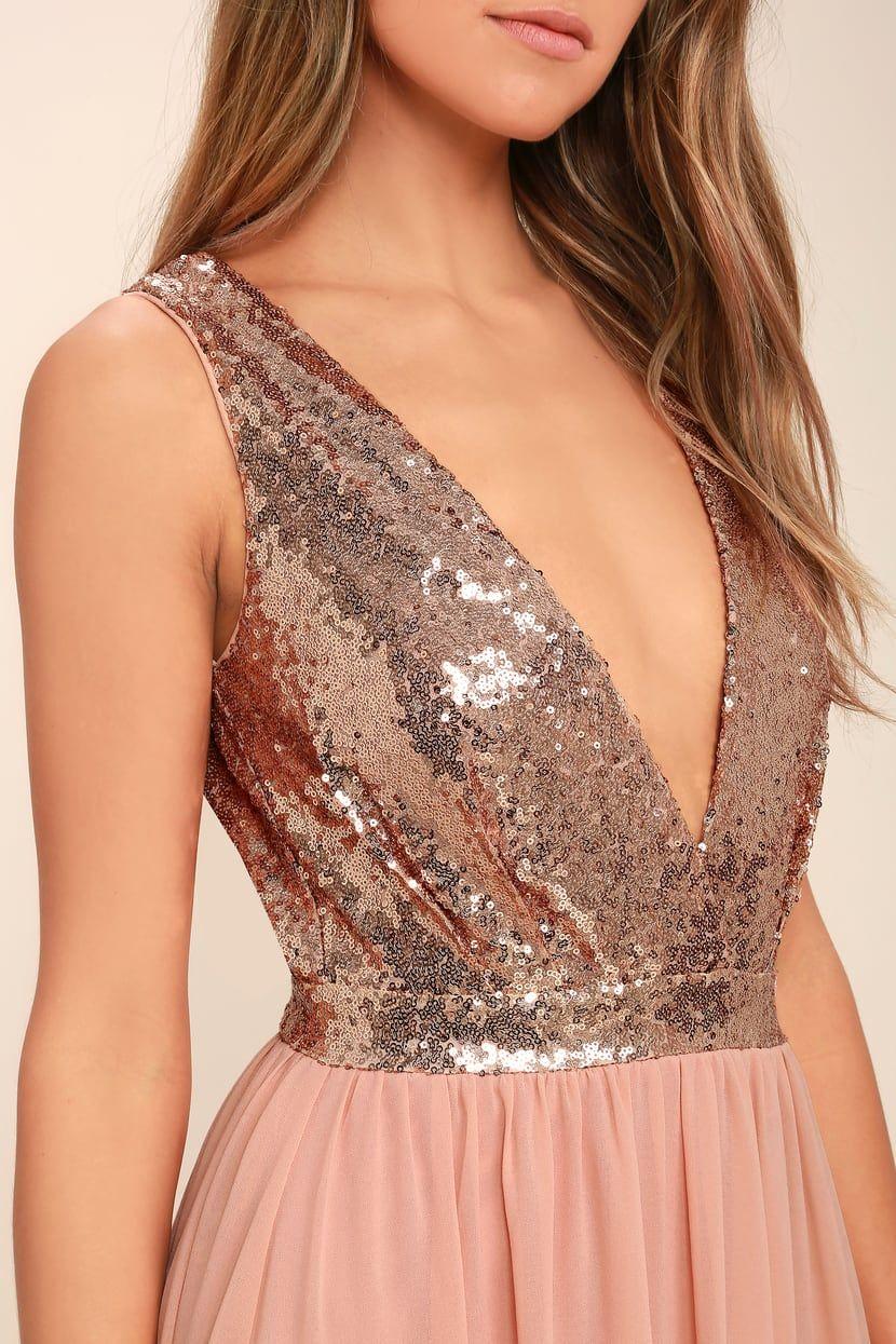 7e8d4c04f7e Elegant Encounter Rose Gold Sequin Maxi Dress