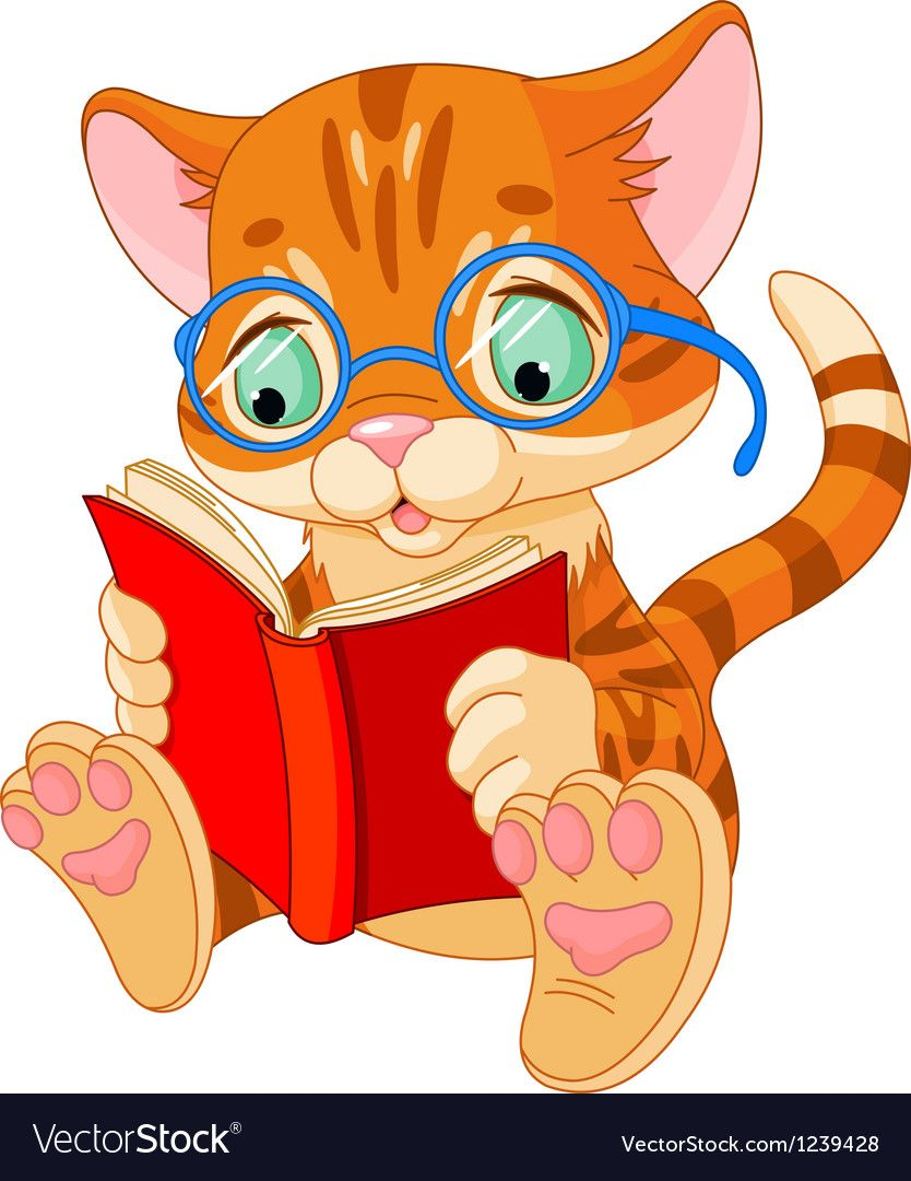 Cute Kitten With Glasses Reading A Book Download A Free Preview Or High Quality Adobe Illustrator Ai Eps Pdf And Animal Clipart Kitten Images Kittens Cutest