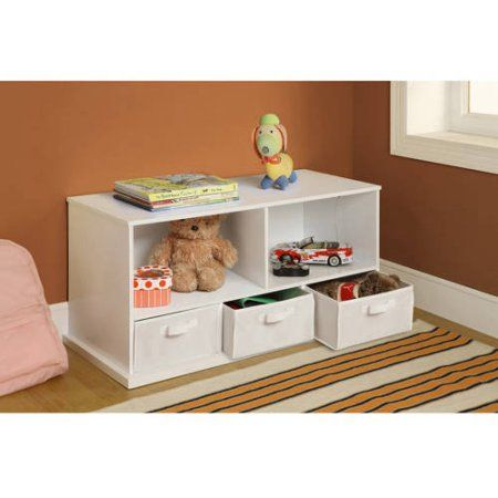 Exceptionnel Badger Basket Shelf Storage Cubby With 3 Baskets, Multiple Colors, White
