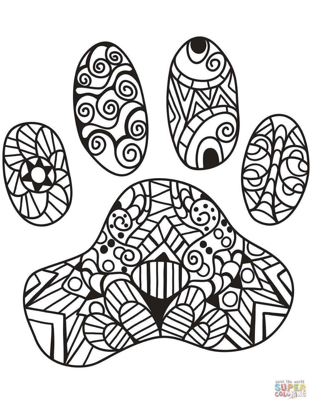 Cat Paw Print Zentangle Coloring Page Free Printable Coloring Pages Paw Print Drawing Cat Paw Print Dog Paw Print