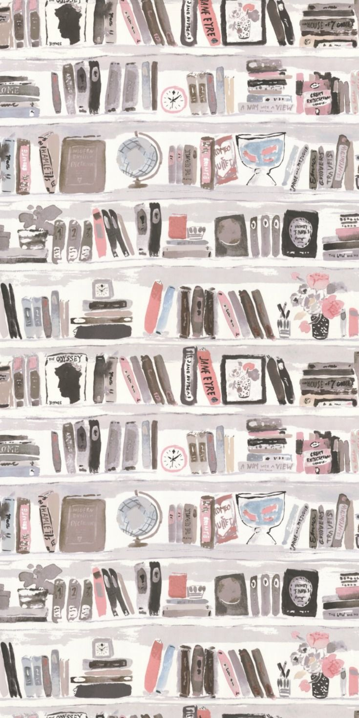 A Faux Library Wall Book Shelf Wallpaper Design With Hand Painted Effect By