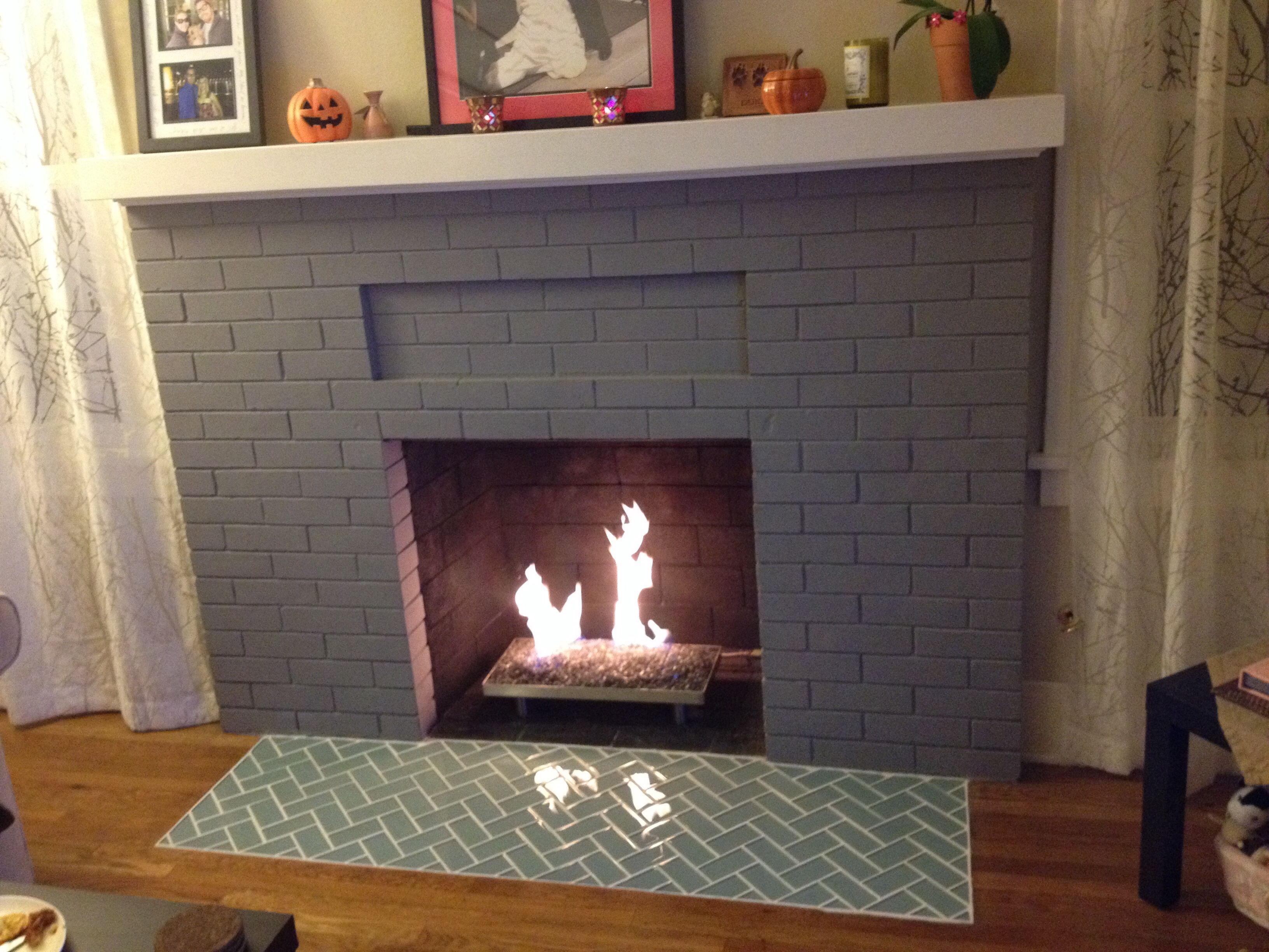 Sage green glass subway tile glass tile fireplace tiled - Tile over brick fireplace ...