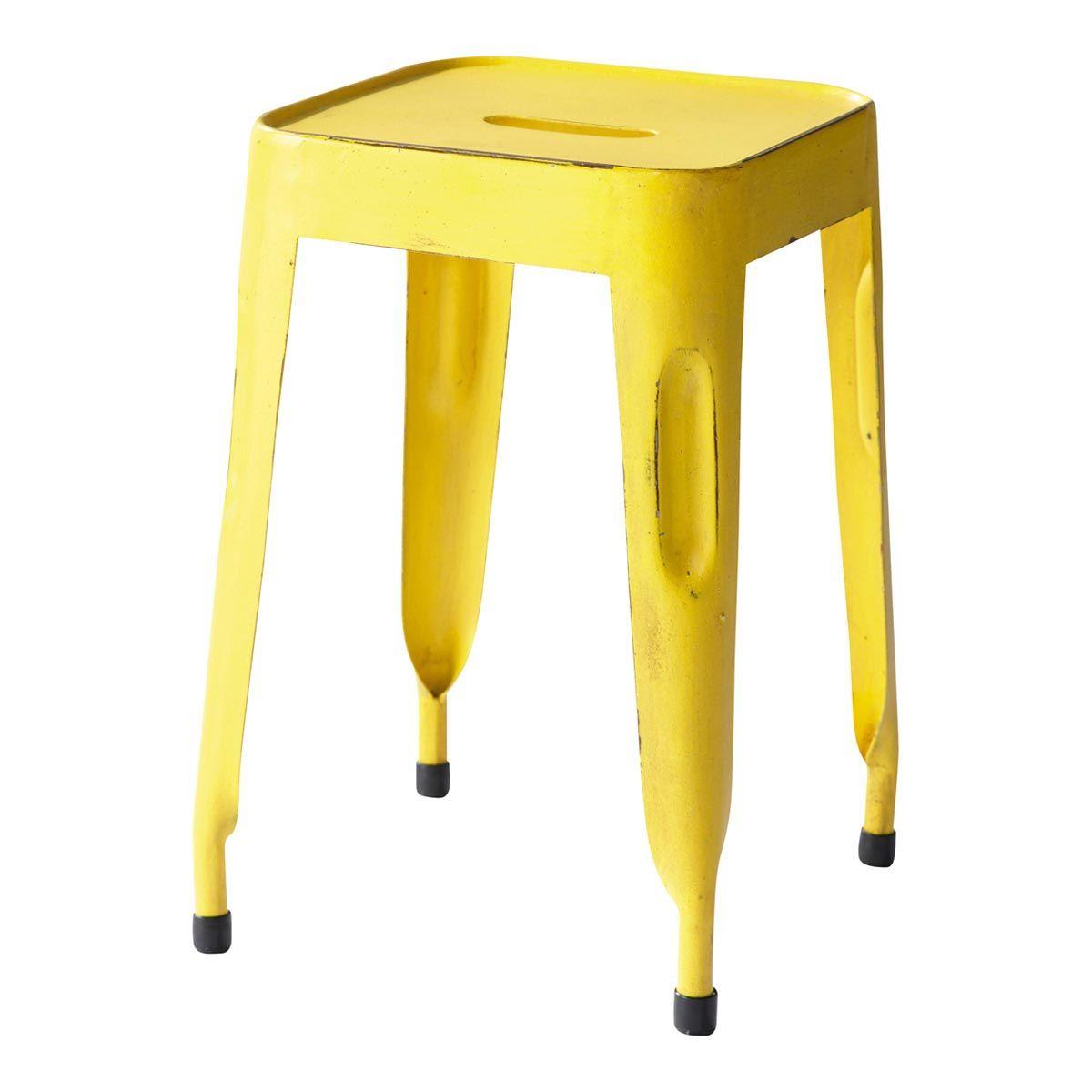 Hocker im Industrial-Stil aus Metall, gelb Jim