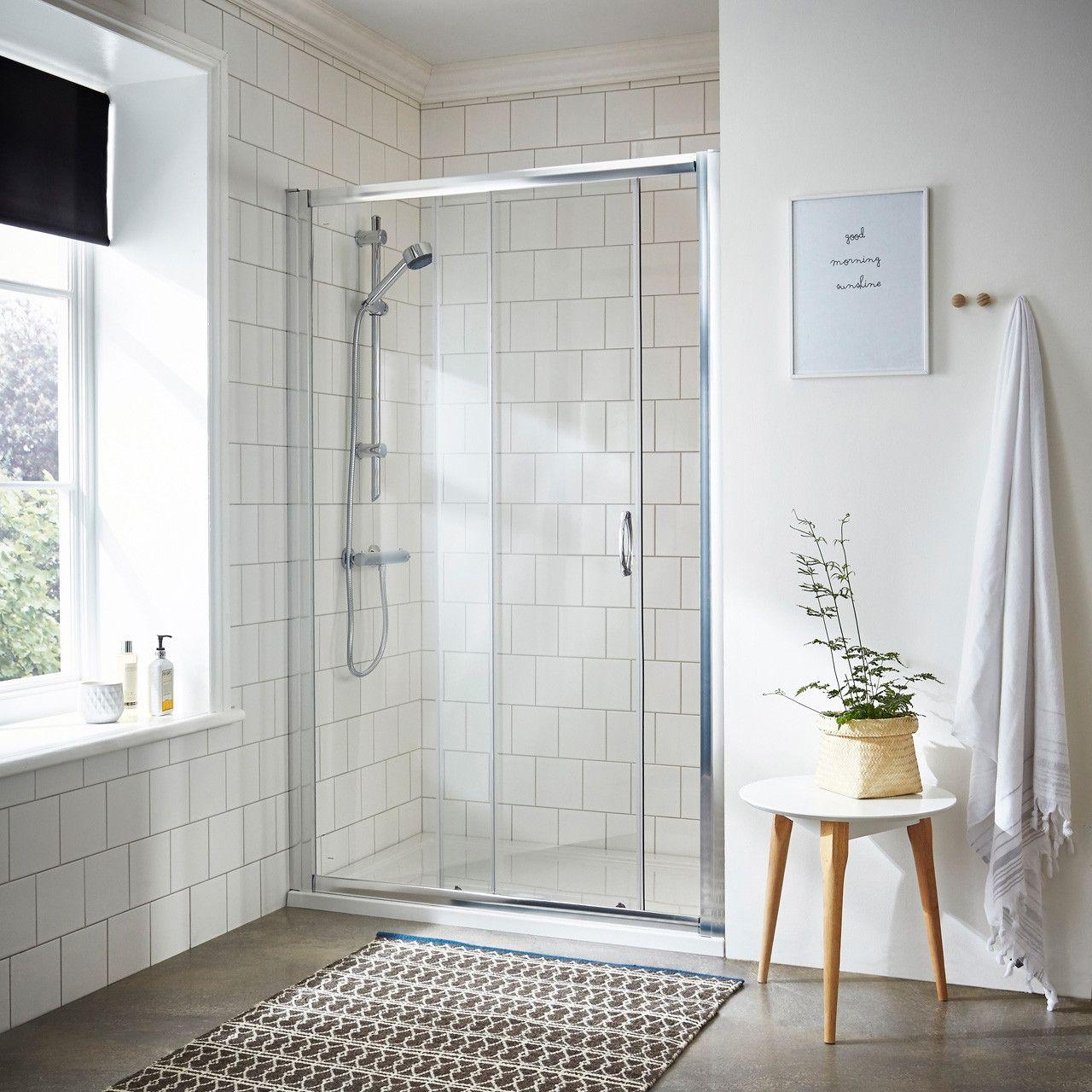 Nuie Ella 1000mm Sliding Shower Door Ersl10 Sliding Shower Door Sleek Bathroom Shower Doors
