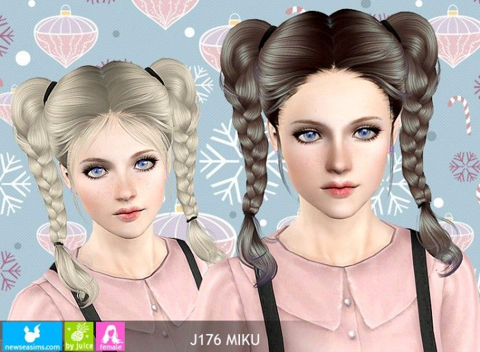 J176 Miku Double Braided Pigtails By Newsea Sims 3 Downloads Cc
