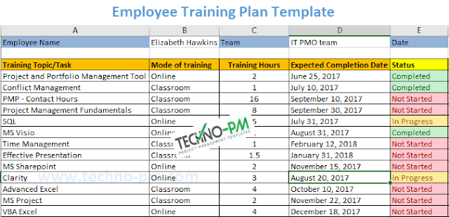 Employee Training Plan Excel Template Download Employee Training Training Plan Workout Template