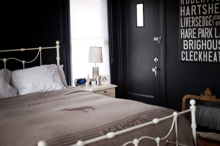 The black bedroom with ACE hotel blanket