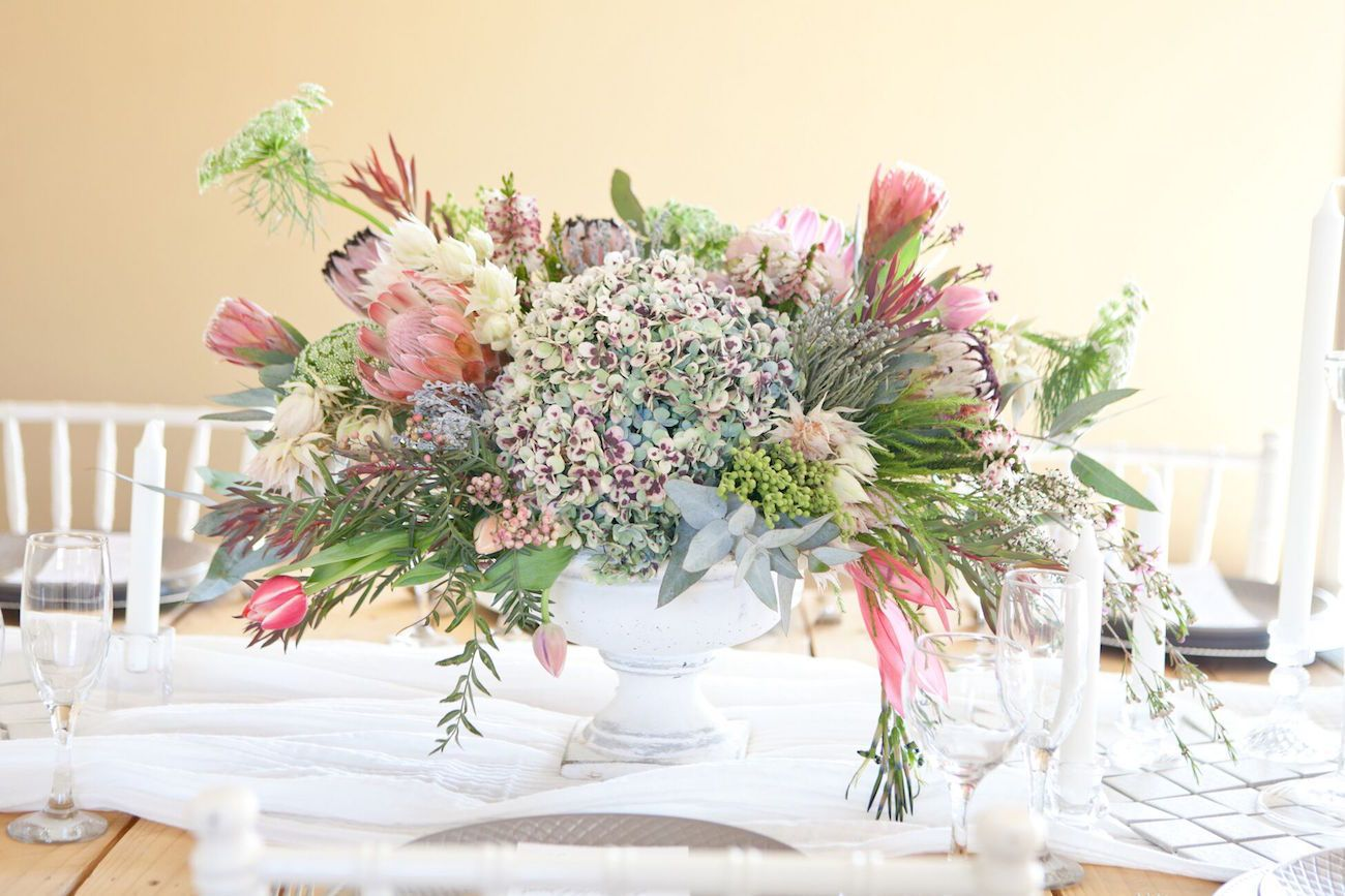 wedding centerpieces fake flowers%0A Romantic South African Protea Wedding Inspiration by Corette Faux