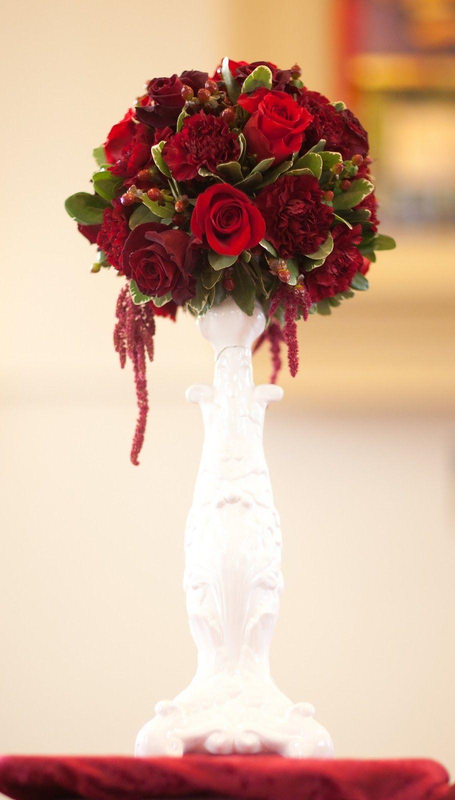 red reception wedding flowers, wedding decor, wedding flower ...