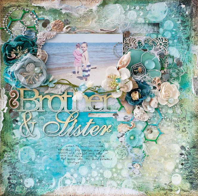 "LO ""By the Sea"" - Scrapbook.com - Gorgeous, dreamy beach layout created with embossing powders, spray mists, florals and more."