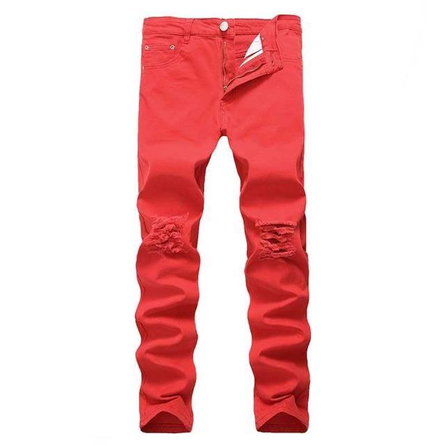d307232b553f1 Swag Mens Designer Brand Black Jeans Skinny Ripped Destroyed Stretch Slim  Fit Hop Hop Pants With