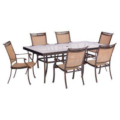 outdoor hanover fontana aluminum 7 piece rectangular glass top patio rh pinterest com