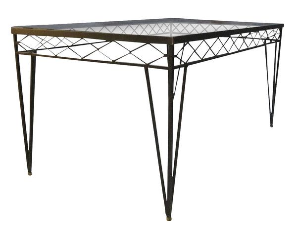 Balsamo Antiques 1940 S French Wrought Iron Glass Top Dining Table Wrought Iron Glass Glass Top Dining Table Dining Table