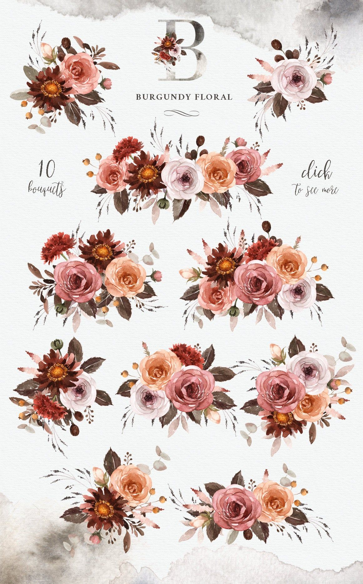 Clipart Bordeaux Floral Aquarelle Mariage Romantique Fleur