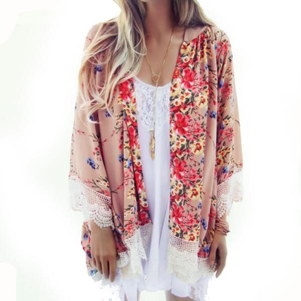 Chiffon Printed Kimono Cardigan/ Kimono-Fringed Hem  Gender: WomenCollar: O-NeckSleeve Length: Three QuarterStyle: KimonoPattern Type: FloralFabric Type: Chiffo
