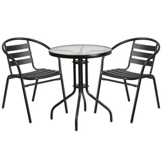 23 75 Round Glass Metal Table With 2 Black Metal Aluminum Slat
