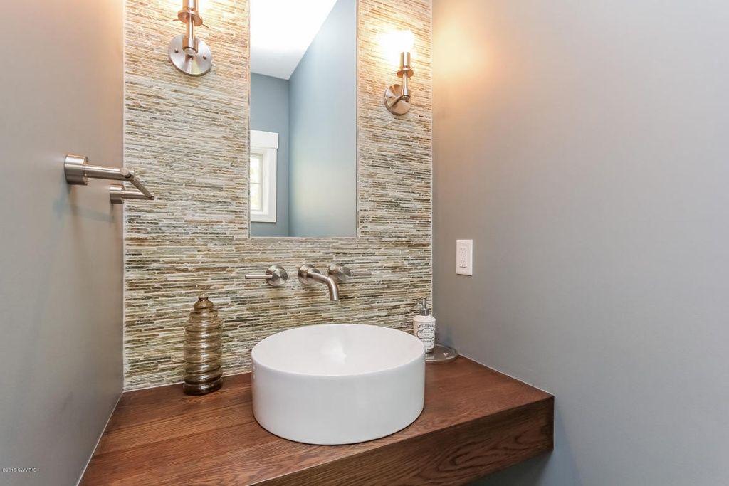 contemporary powder room with daltile opulence sandstone mosaic tile rh pinterest com