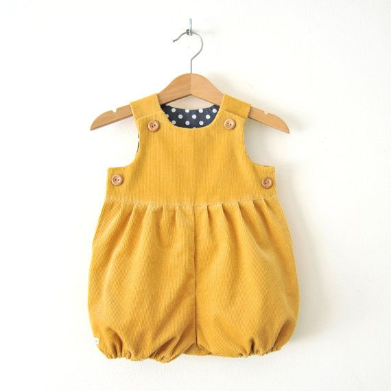 9dee404cbbb7 Mustard Yellow Corduroy Baby Romper Suit For Boys and Girls