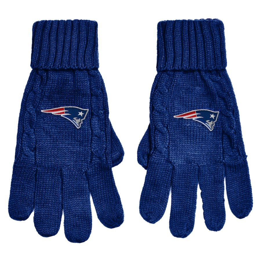 Women s New England Patriots Navy Cable Knit Gloves  9c7fe9542