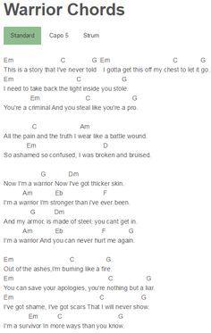 Warrior Demi Lovato Guitar Chords For Songs Music Chords