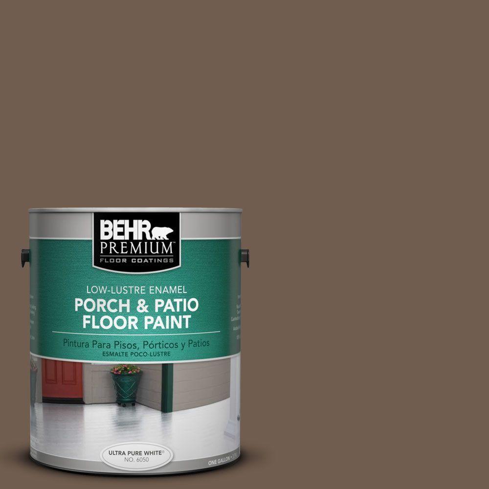 Behr Premium 1 Gal Pfc 35 Rich Brown Low Lustre Enamel Interior Exterior Porch And Patio Floor Paint 630001 Patio Flooring Painted Floors Concrete Porch