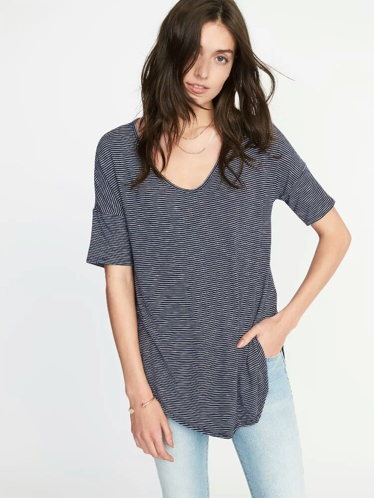 95a0f7bad72 Old Navy Relaxed Luxe Slub-Knit Tunic for Women $15.00 - $19.99 Extra  Savings Applied at Checkout Color: Blue Stripe
