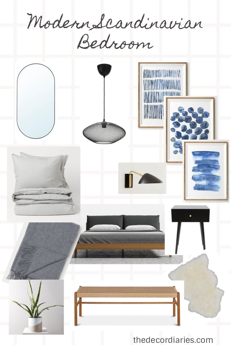 Modern Scandinavian Bedroom furniture - check out the blog post for links to all sources #modernscandinavian #bedroominspiration #thedecordiaries #scandinavianstyle #interiordecor
