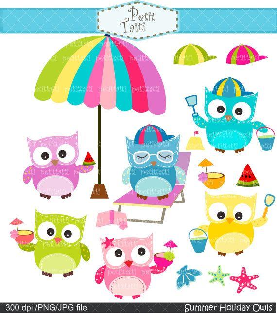 Digital clip art  for all use, Summer Holiday owl clip art, sun sea sand, beach clip art, Instant Download