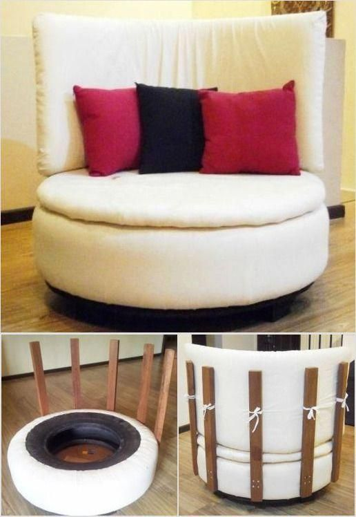 tire to round sofa chair reclaimed wood tutorials round sofa rh pinterest com