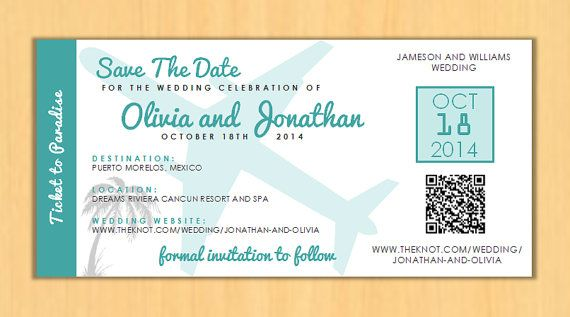 Destination Wedding Boarding Pass Save The Date Printed Passes