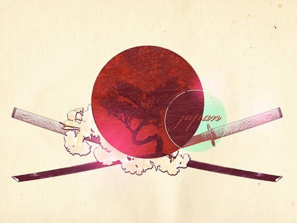 12日の丸と刀でデザインした和風イラスト壁紙画像 和 In 2019