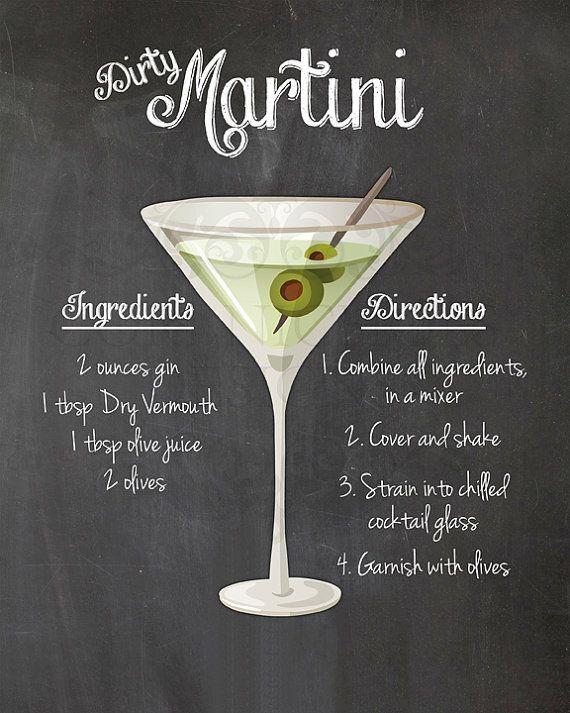 Photo of Dirty Martini Cocktail Recipe Chalkboard Printable Kitchen Art Wall Decor Digital JPEG File