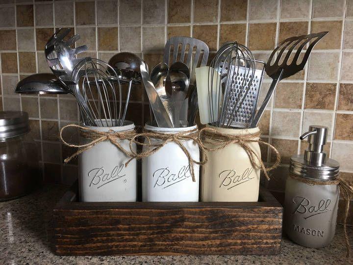 rustic utensils holder mason jar utensils holder kitchen utensils holder farmhouse kitchen on farmhouse kitchen utensils id=80956