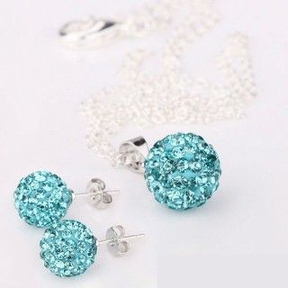 Stylish Female Blue Color Shamballa Jewelry Sets
