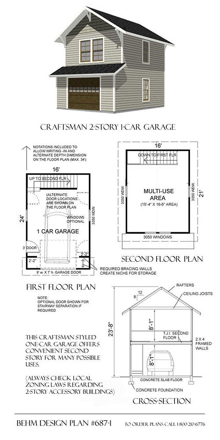 1 Car Craftsman Style Garage Plans With Loft 687 1 16 X 24 Garage Plans With Loft Garage Plans Garage Design