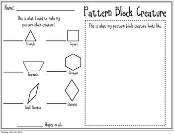Pattern Block Freebie Teacherspayteachers Com Kindergarten