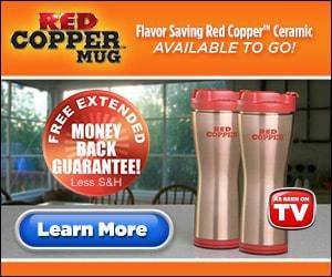 """Red Copper Mug maintains your beverage fresh all day, as well as will not leak with the leak-proof lid with patented drip guard design. """