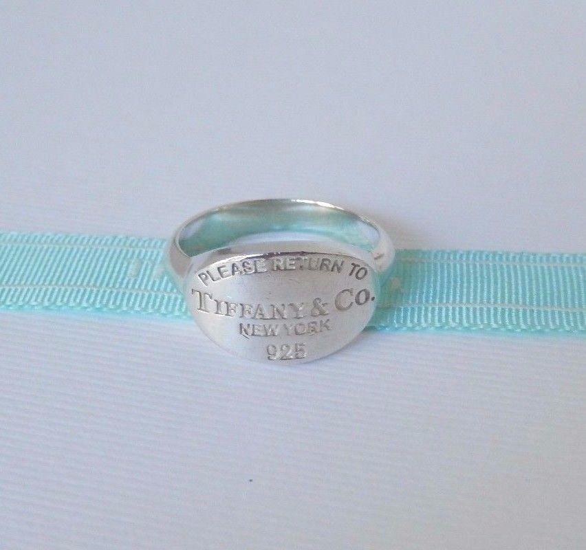 003e03414 Tiffany & Co 5 Silver Please Return to Tiffany New York 925 Oval Tag Ring  Band #TiffanyCo #Band