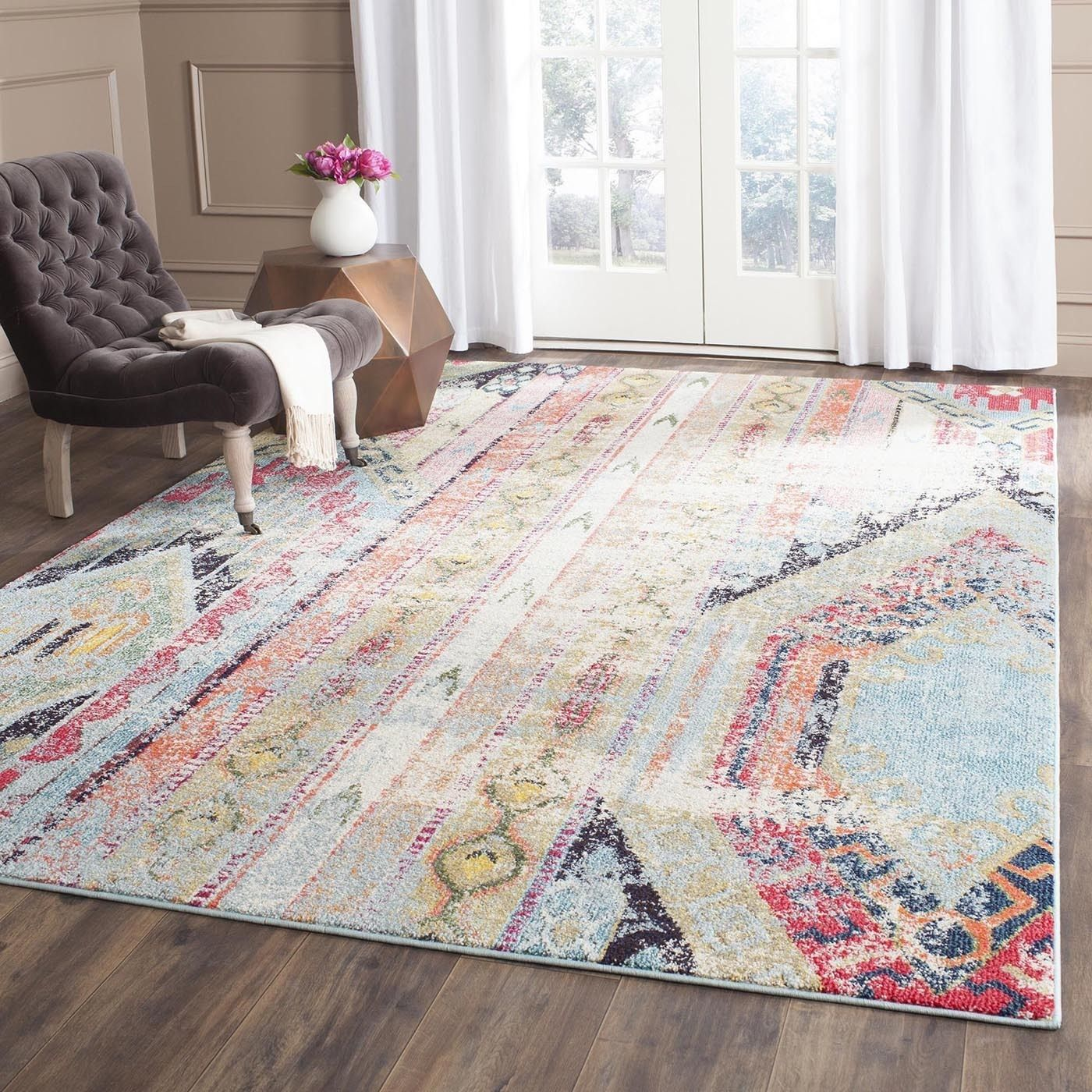 rug for living room size%0A Safavieh Monaco Vintage Bohemian Multicolored Distressed Rug    u      x   u         MNC   F    Multi  Polypropylene  Abstract