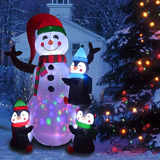 phoenixreal 6 foot christmas inflatables snowman with penguins rh pinterest com