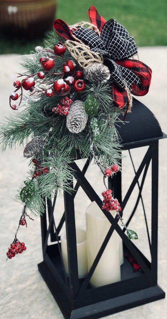Photo of Large christmas lantern swag, winter lantern swag, woodland holiday decor, floral lantern swag, farmhouse decor, rustic, buffalo plaid check