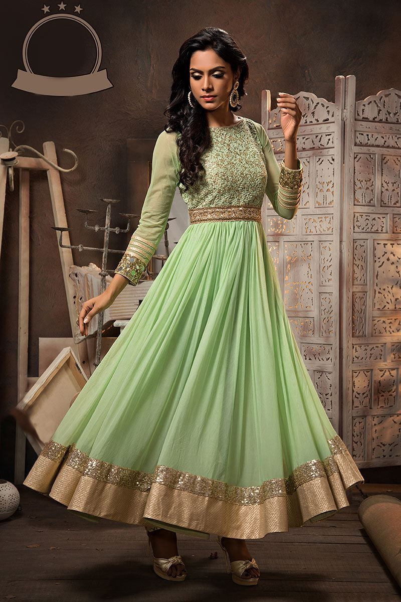 Designer salwar kameez mesmeric peach color net designer suit - Show Details For Mesmeric And Appealing Pista Green Color Anarkali Suit