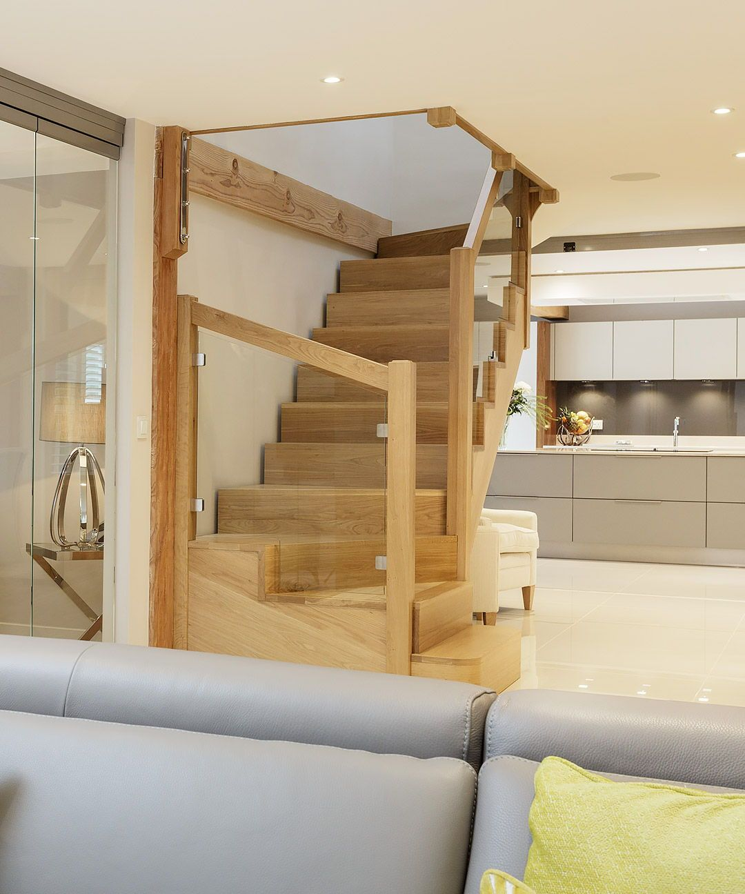 timber staircase with modern open plan living space with glass doors rh pinterest com
