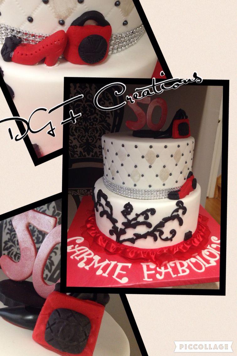 Fabulous 50th birthday #50birthday #50thbirthdaycake #redwhiteblackcake