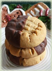 chocolate peanut butter cookies dip a cooled peanut butter cookie in a sauce of melted reeses peanut butter cups mixed with a little milk to achieve a - Christmas Peanut Butter Cookies