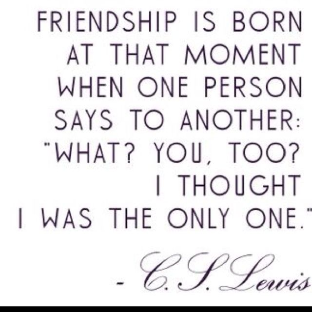 Cs Lewis Quote About Friendship Interesting Friendship Is Born At That Moment When One Person Says To Another