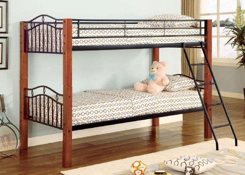 Twin Wood And Metal Bunk Bed Convertible Furniturendecor Com